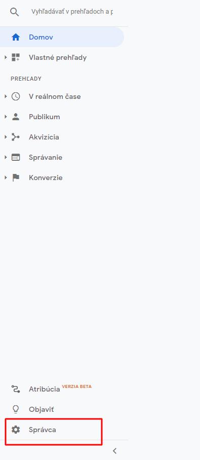 02-účet Google Analytics Správca