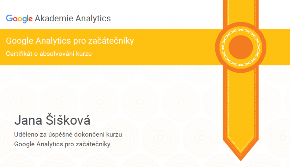 Google Analytics Certifikát Janka Šišková