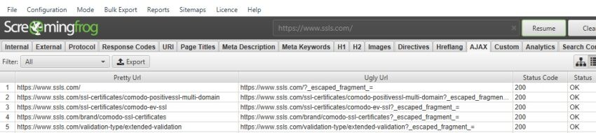 JavaScript URL ve Screaming Frogu