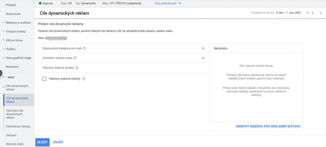 Nastavení DSA v Google Ads - Výběr cíle dynamických reklam