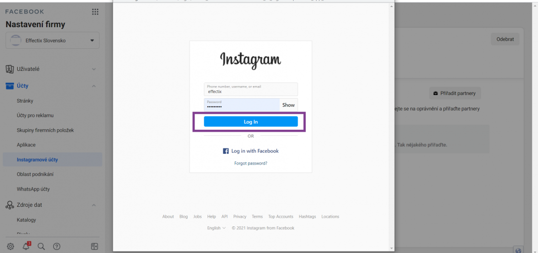 pridanie instagramu do business managera