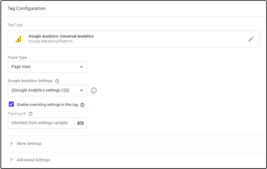 Příklad Google Tagu pro GTM