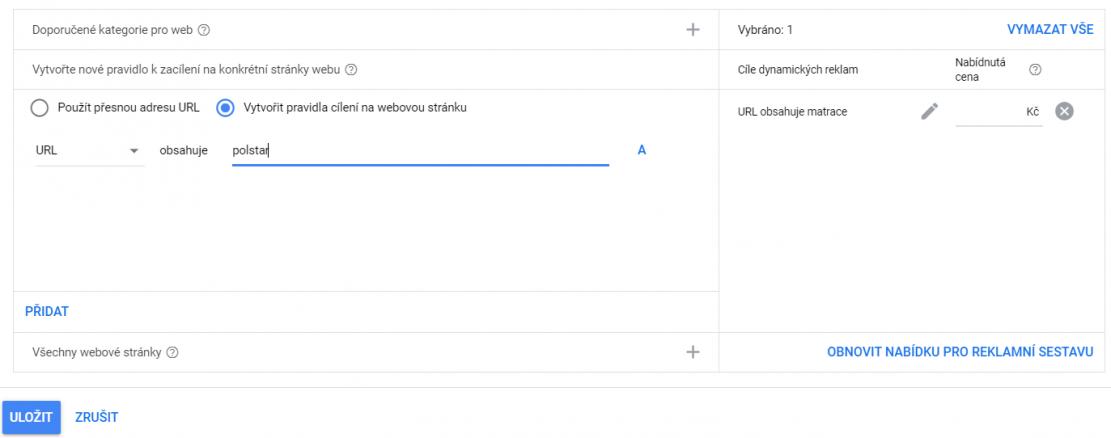 Rozdělení DSA kampaní Google Ads dle kategorií webu