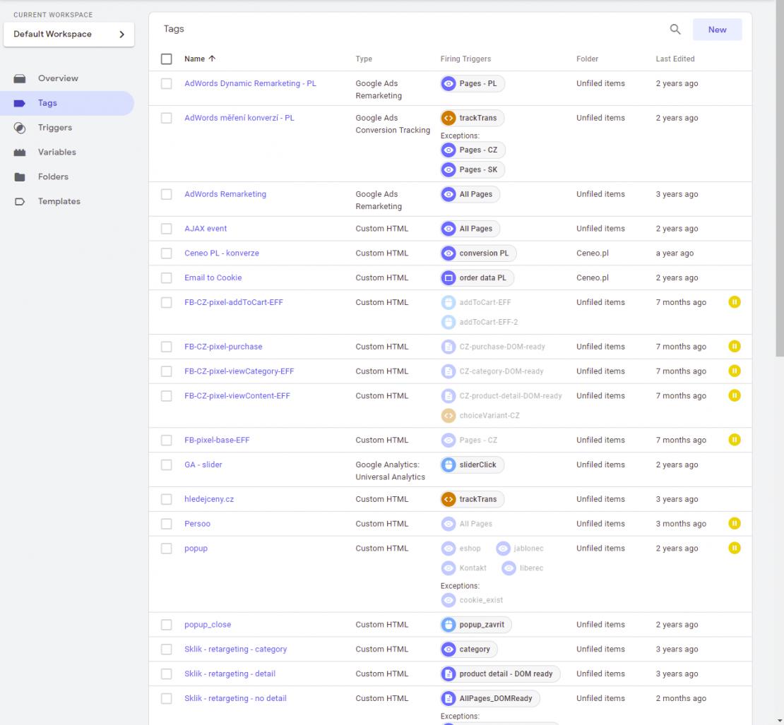 Tagy v Google Tag Manageru